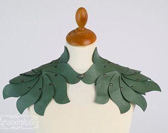 Sage green leather shoulder piece Elf collar Shrug Shoulder armour Shoulder accessories Fairy leaves fantasy fashion Larp Burning Man