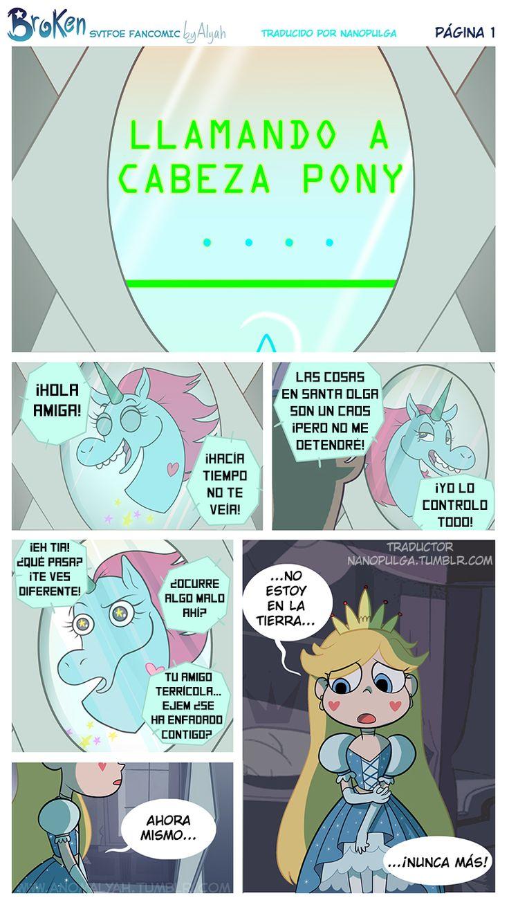 """[Portada] [Siguiente página] El sonido de la llamada interdimensional hacía eco en la habitación oscura y silenciosa donde Star se encontraba. Ella llamó a su mejor amiga, Cabeza Pony. """"¡Hola amiga!..."""