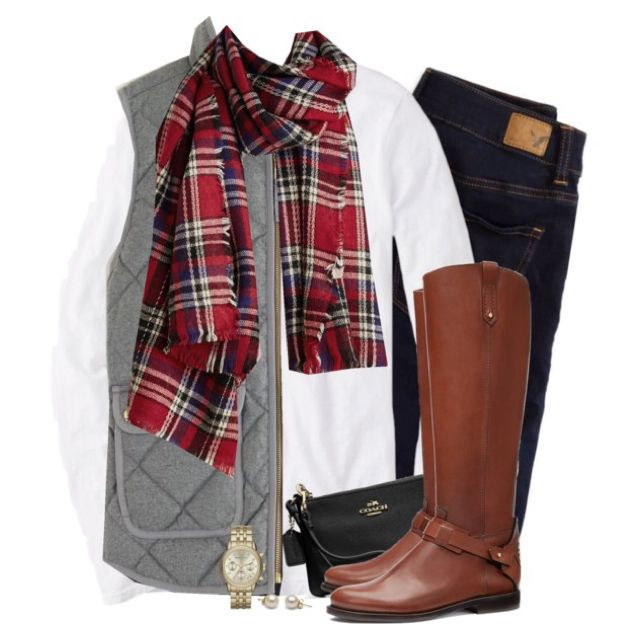 Gray J.crew vest & red plaid scarf