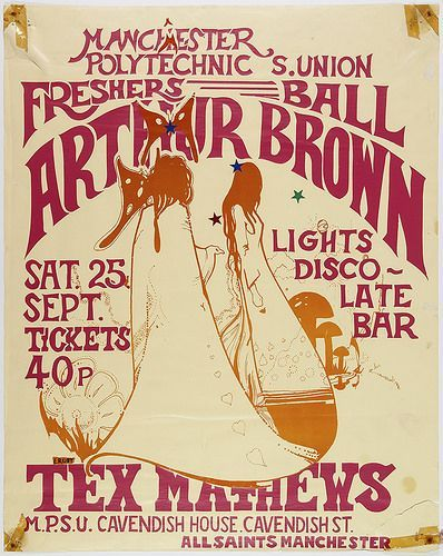 Poster for the Freshers' Ball at Cavendish House (the modern Righton Building), with a performance by Arthur Brown, Manchester, England, United Kingdom, 1971, by Manchester Polytechnic Students' Union.