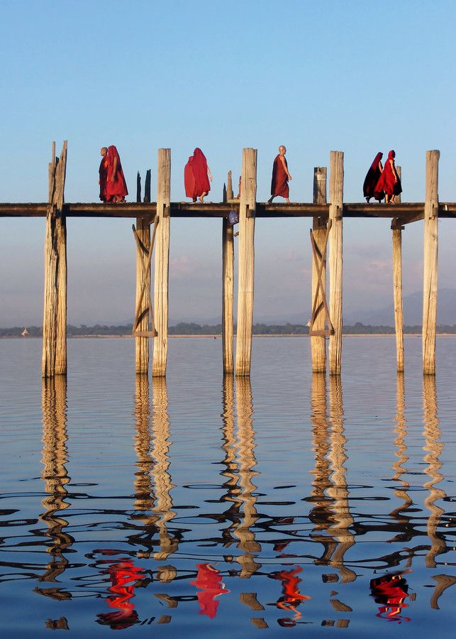 Buddhist Monks - U Bein's ancient teak bridge - Amarapura, Myanmar