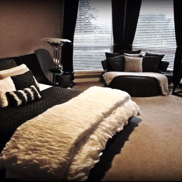 Black and white bedroom, designed by Ken Hamlin