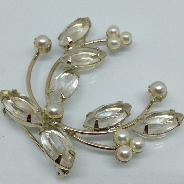Vintage FLOWER SPRAY BROOCH PIN Clear Crystal Faux Pearl Silver Tone SALE $2.50 sale! #ebay #vintagebrooch #vintagejewelry