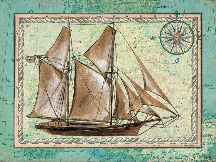Aqua Maritime 2 Painting  - Aqua Maritime 2 Fine Art Print