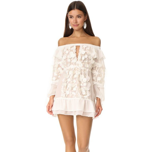 For Love & Lemons Dress Off Shoulder Tunic ($295) ❤ liked on Polyvore featuring tops, tunics, white, white off the shoulder top, white tunic, floral off shoulder top, off the shoulder tunic and white off shoulder top