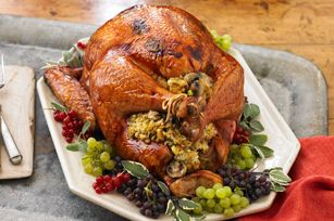Brined Sage Roast Turkey with Mushroom Stuffing recipe - with a how-to video for a perfect feast!