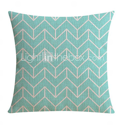 Light Blue Leaves Pattern Cotton/Linen Decorative Pillow Cover - EUR €14.69