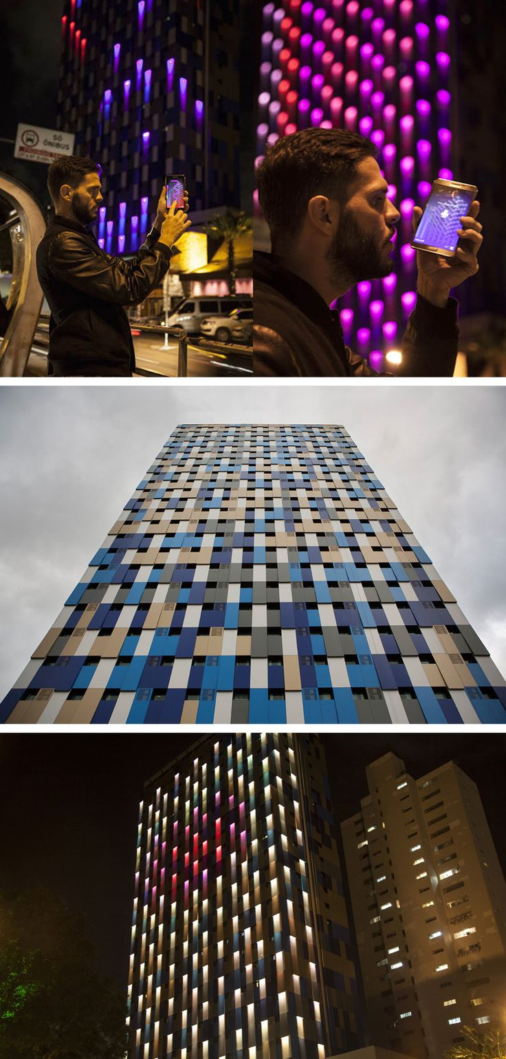 Estudio Guto Requena have recently completed a new facade for for the Hotel WZ Jardins in Sao Paulo, Brazil, that is illuminated at night by interactive light patterns.