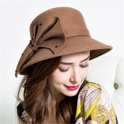 https://www.buyhathats.com/fashion-wool-bucket-hat-with-bow-ladies-winter-hats-british-style.html
