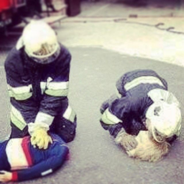 Rescue gone wrong....  Actually these are Firefighters training on a dummy. - Quick, get the defibrillator. #training #firebrigade #firedepartment #firefighter #emt #medic #humour