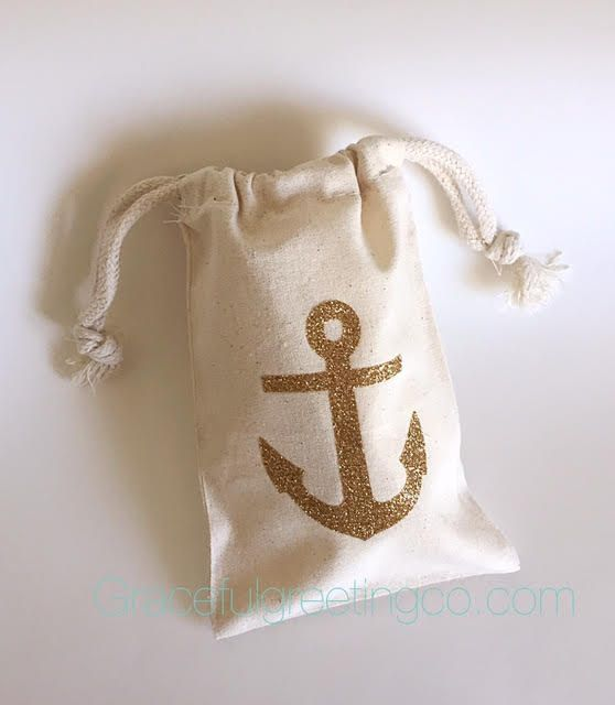 Glitter anchor party favor bag Bachelorette by GracefulGreetingCo