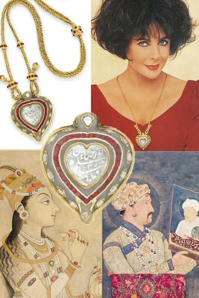 Elizabeth Taylor diamond jewelry here the Taj Mahal