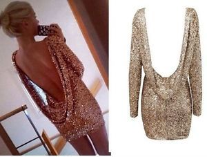 Details about Gold Sequin Open Back Dress Long Sleeve Backless ...
