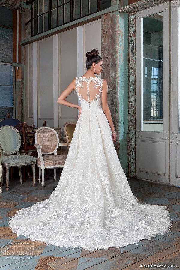 Justin Alexander Signature Spring 2016 Wedding Dresses | Wedding Inspirasi | Absolutely BEAUTIFUL Embroidered Filigree Lace High Low Wedding Dress Showcasing A Sleeveless, Illusion Lace Bateau Neckline, Illusion Lace Back, Box Pleated Skirt With Chapel Length Train... Lovely Dress!; (Back View)~~