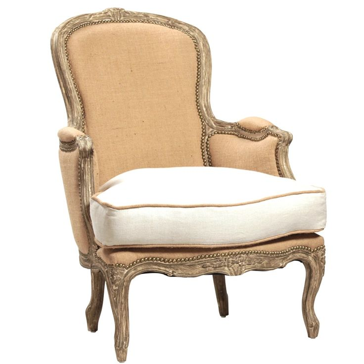 """A Classic French slipper chair in Grey toned finish and Jute/cotton upholstery. This chair was made from Oak frame with carved and nail head details. Dante chair evokes a cozy historical feeling in true English country-style. <BR><BR> • Hardwood Frame<BR> • Grey Toned Finish<BR> • Jute and Cotton Upholstery<BR> • Carved and Nail Head Details<BR> • 28""""L x 34""""D x 38""""H <BR> <BR><strong>Return Policy</strong><BR> Due to the size of this piece this item is not eligible for returns or exchanges…"""