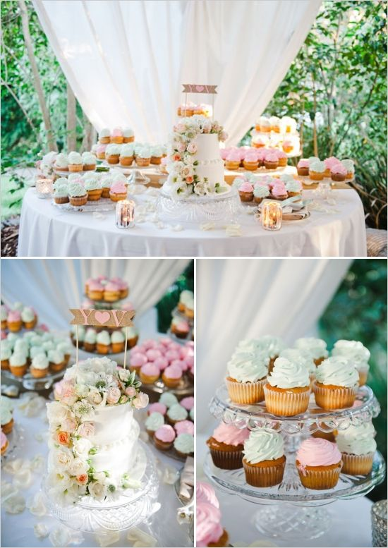 mint and pink wedding cake table ideas www.weddingchicks.com/2014/01/10/elegant-garden-wedding/