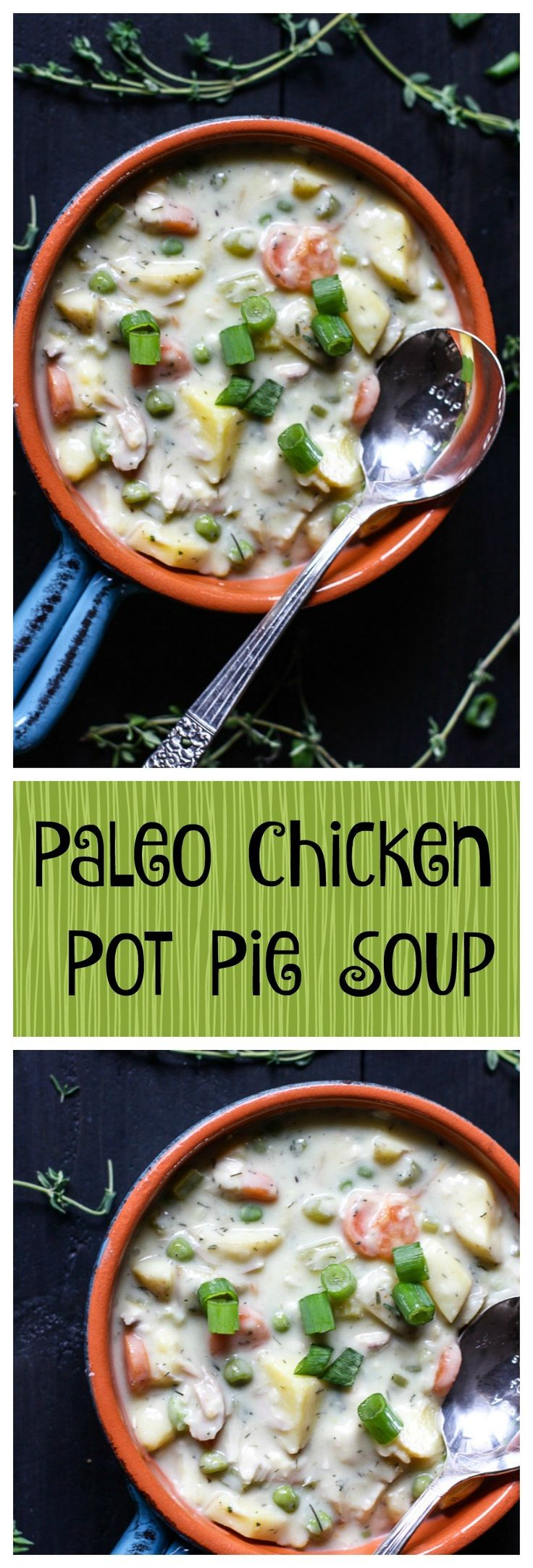 Paleo Chicken Pot Pie Soup. All the tastes of comforting pot pie, but no grains and no dairy. This simple recipe is delicious and healing!