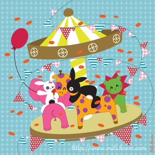 Manege, jeunesse, illustration, lapin, rabbit, Black, couleurs, vectoriel, kawaii