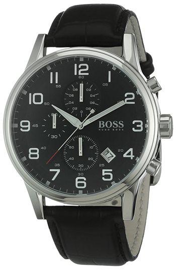 Montre Hugo Boss Homme - 1512448 - Quartz - Chronographe - Cadran Acier inoxydable Argent - Bracelet en Cuir Noir - Date