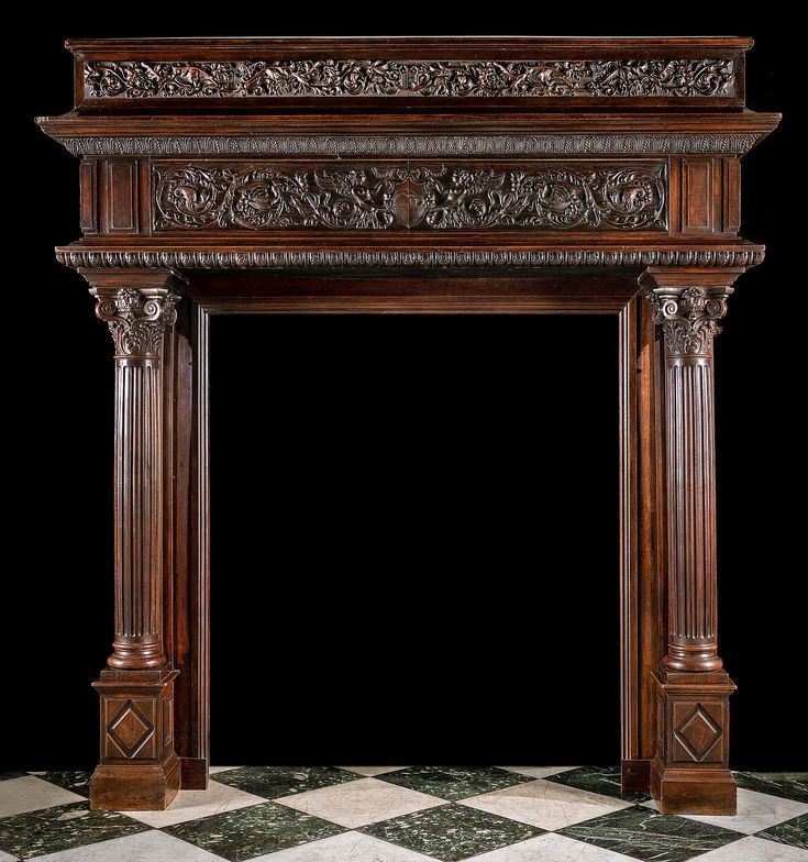 Antique Large Renaissance Style Carved Walnut Camino