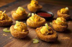 OMG! You'll never eat deviled eggs the same! Buffalo Fried Deviled Eggs Recipe | Savory Spice Shop