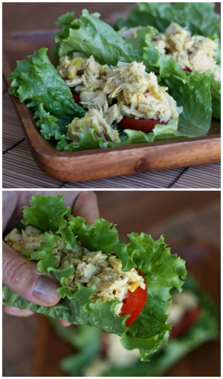 Tuna Salad Lettuce Wraps - made with tangy mustard and Greek yogurt! Great lunch option for anyone trying to lose weight.