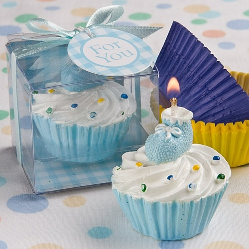 Blue Cupcake Design Candle Favors - Give your guests a little something sweet in honor of your sweet little boy with these Blue Cupcake Design Candle Favors. Delightfully topped with a blue baby bootie, this adorable cupcake candle is a scrumptious choice as a favor for a boy's Christening or baby shower or for any baby boy themed event.