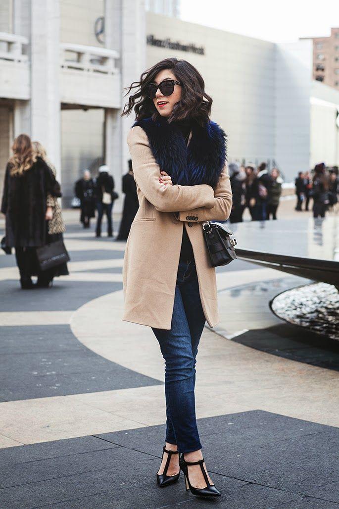 medium-wash denim + t-strap heels + tan coat + fur