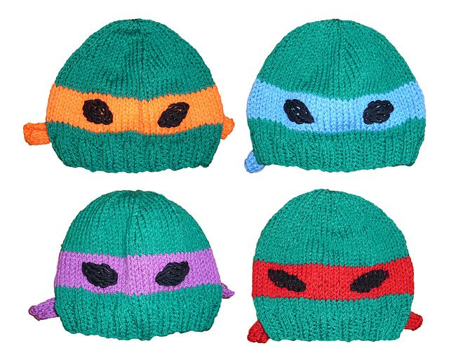 Teenage Mutant Ninja Turtle Knitted Hat pattern by Jillian ...