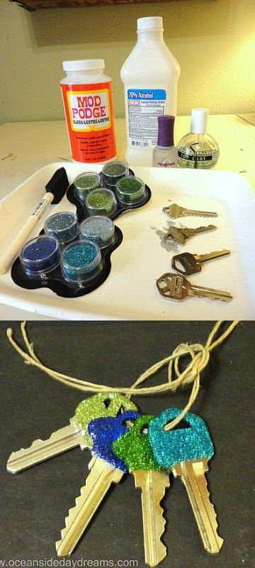 Use mod podge to glitter a set of keys.