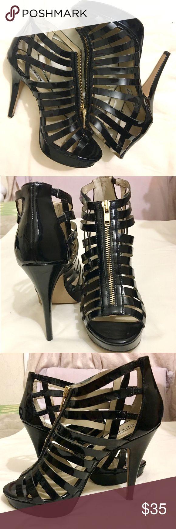 Steve Madden stiletto heels Steve Madden 'Nanciee' black heels with gold zipper. Only worn twice. Platform is 3/4 inches. Heel is 4.5-5 inches. Over 50% off original! Steve Madden Shoes Heels