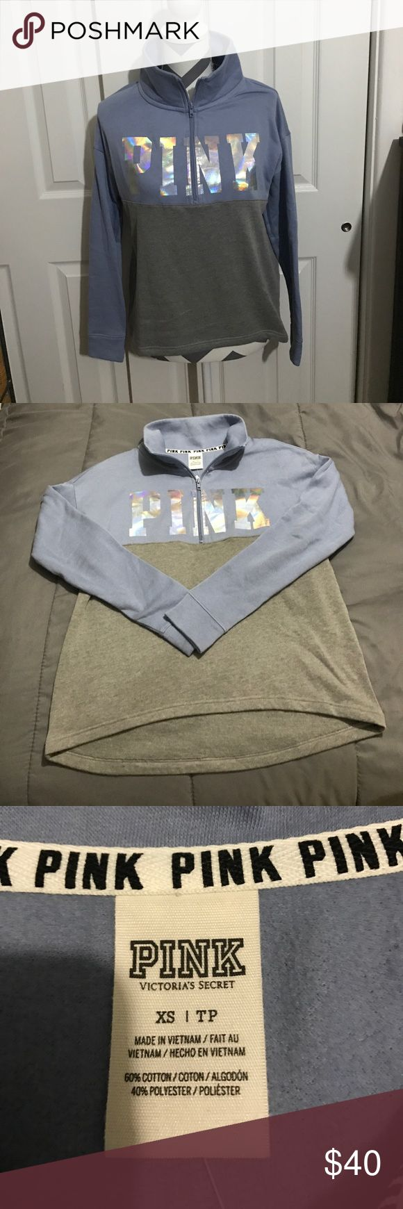 🌈PINK HOODOE🌈 Gently used light blue and grey color block hoodie with hologram print on the front super cute high low style half zip!! In great condition! Size XS bundle and save!! 😀💖👍 PINK Victoria's Secret Tops Sweatshirts & Hoodies