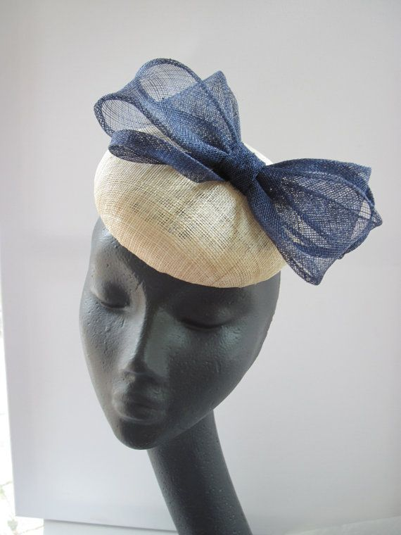 FARFALLA Sinnamay Hat With Bow Color-Navy 0w7ur