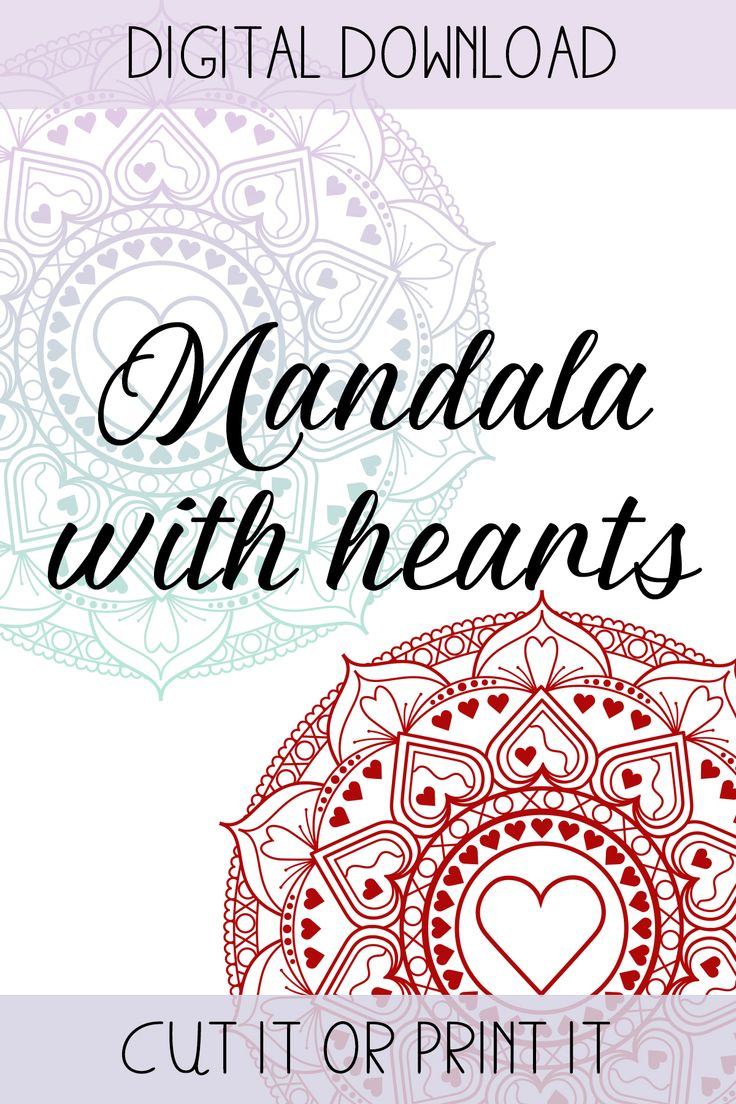 Download Mandala with hearts file - Make a great present for your love on valentine's day with an svg ...