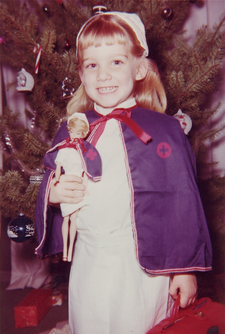Christmas 1964   little nurse with Barbie nurse