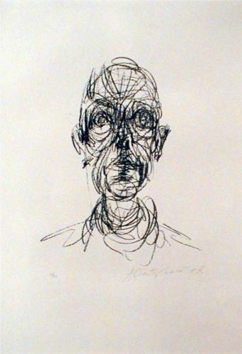 """Head"" is a piece by Alberto Giacometti which consisted of ink printed onto…"