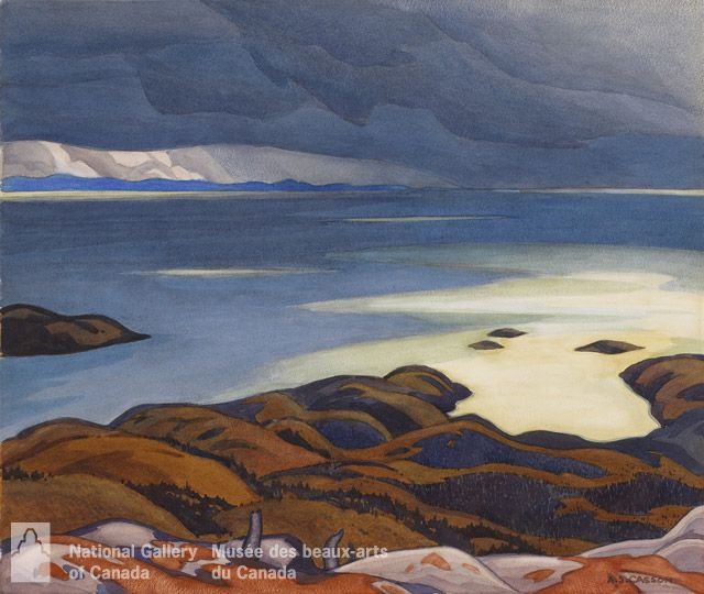 """Approaching Storm, Lake Superior,"" A.J. Casson, ca. 1929-1930, watercolour over graphite on wove paper, 18.5 x 22.5"", National Gallery of Canada."