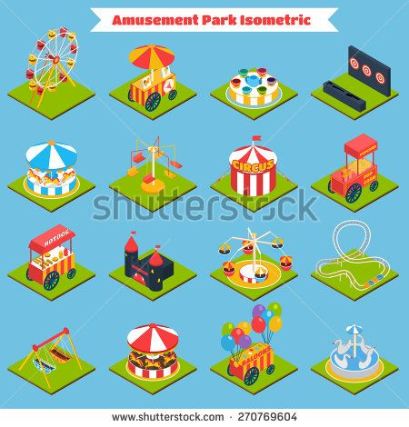 stock-vector-amusement-park-isometric-icons-set-with-d-ferris-wheel-ice-cream-and-balloons-isolated-vector-270769604.jpg (450×470)