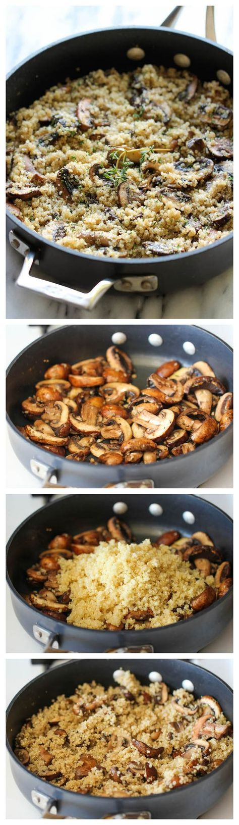 Garlic Mushroom Quinoa - An easy, healthy side dish that you'll want to make with every single meal! leave out parm or sub for nutritional yeast for vegan.