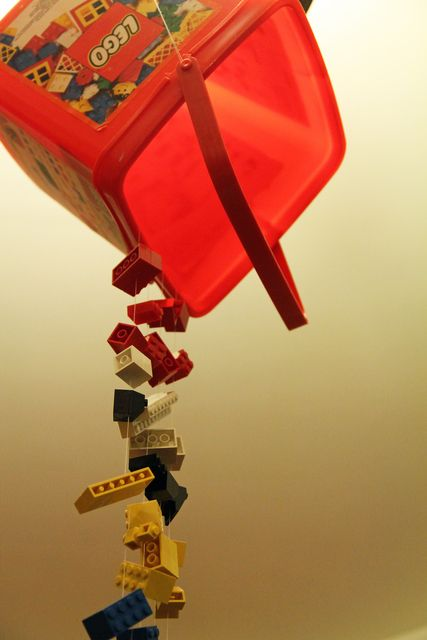 Set the scene with : The Lego bucket chandelier