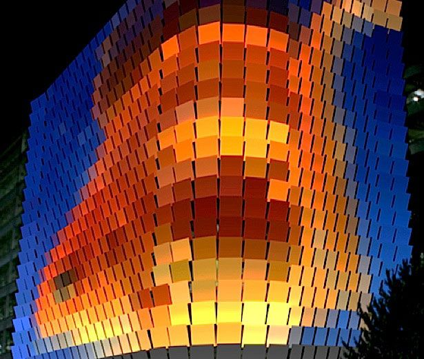 The Rundle Lantern – Adelaide, Australia This was constructed around the face of the Rundle Street U-Park. It is a digital canvas that uses LEDs to illuminate 748 square panels. This delivers a unique platform for art.