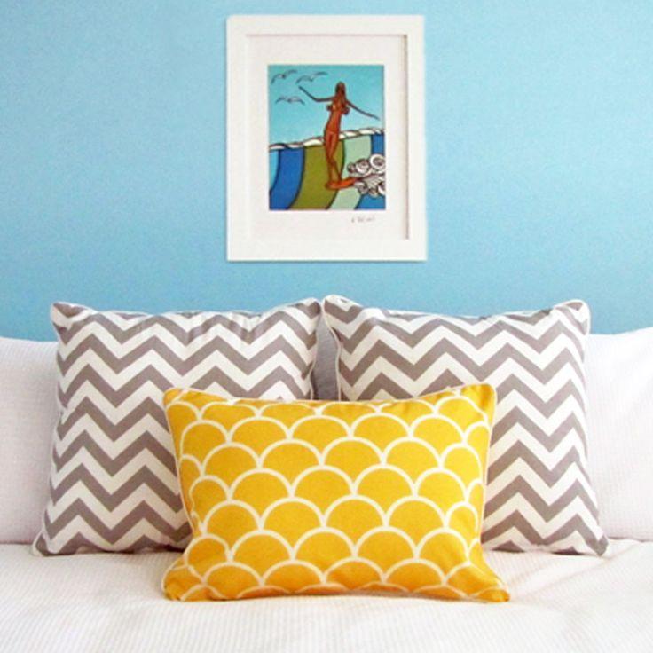 Grey Chevron Cushions + Sunshine Yellow Cushions