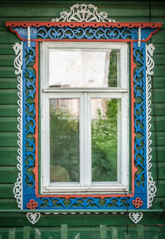 traditional decorative carved wood window frame, kostroma, russia…