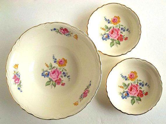 Vintage Scio Pottery Three bowls set Hazel by HydrangeaHillVintage, $20.00