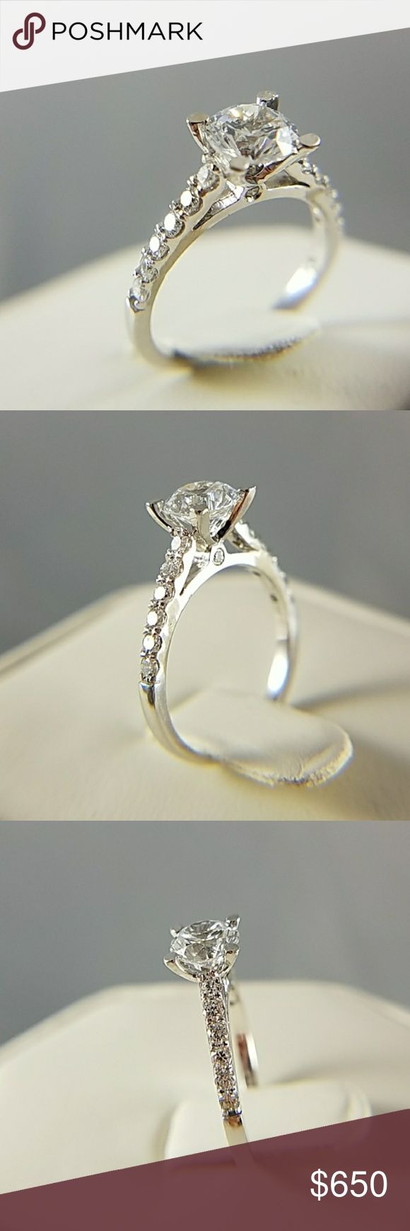 14K Solid White Gold Solitaire ENGAGEMENT ring New. Semi 4 prong Mounting Natural Real VVS1 D COLOR Diamond Engagement Ring with with center stone to put a 0.75 or 1ct either round cut or square cut or cushion cut Diamond. The side stones are 0.34ct 12 PCS Real Natural Diamonds with VVS1 QUALITY AND D COLOR. CENTER STONE IS CUBIC ZIRCONIA Jewelry Rings