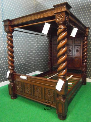 BESPOKE King size ( US Queen ) TUDOR style BED 100% MAHOGANY canopy four poster