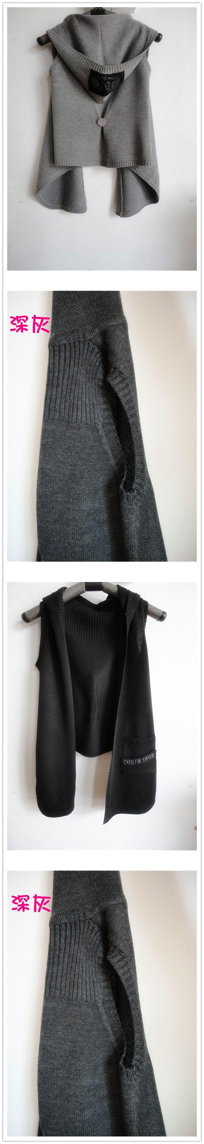 2016 Новый Осень Зима Женщины Жилет с капюшоном вязаный женщина жилет свитер кардиган плащ без рукавов верхняя одежда черный, светлый темный серый купить на AliExpress