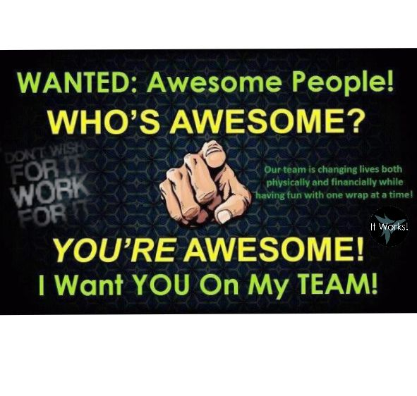 It works is all about health, wellness and being debt free. Products are made with natural ingredients and are non GMO. Everything ships from the warehouse so you don't have to stock anything. Great compensation plan, were in 19 different countries and you can work from home.  Best of all you get to help people be better than they were yesterday. Who wants to be part of our growing family because at IT Works were not just a team were a family and family always has your back! #123itsthateasy