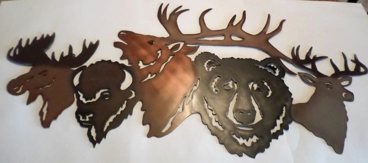 hand madeair brushedmetal bearelkdeermoosehomedecorlodgeartanimalcabin metals home and signs - Metal Signs Home Decor