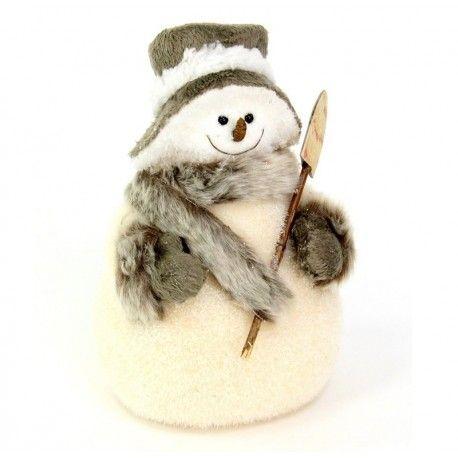 Decoración de Navidad.  Muñecos de nieve, de pelo decorativo para Navidad      Ancho: 13 cm     Largo: 15 cm     Alto: 27 cm